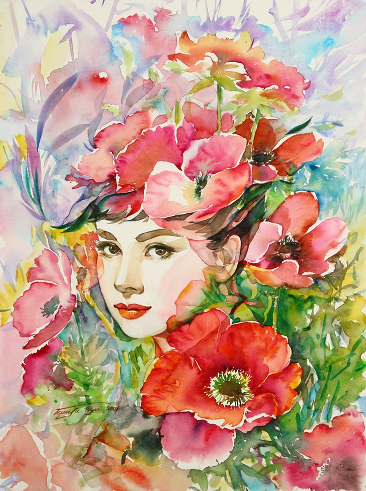 watercolour Audrey flowers by Ryu Eunja - aimlessly seeking joy