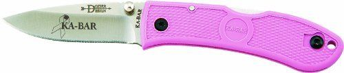 """KA-BAR Dozier Mini Folder Knife, Pink by Ka-Bar. $17.39. KA-BAR is proud to partner with the country's leading cancer research center and it's physicians. The sales of this product will help accelerate new breast cancer research to seek a cure. Straight Edge, 2 1/4"""" blade. Bob Dozier designs offer some of the best values on the market today. This item is not for sale in some specific zip codes. Aus BA SS blade. KA-BAR is proud to partner with the country's leading cancer researc..."""