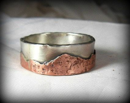 Mountain range silver and copper wedding band, unisex jewelry, custom made rustic sterling ring on Etsy, $145.00