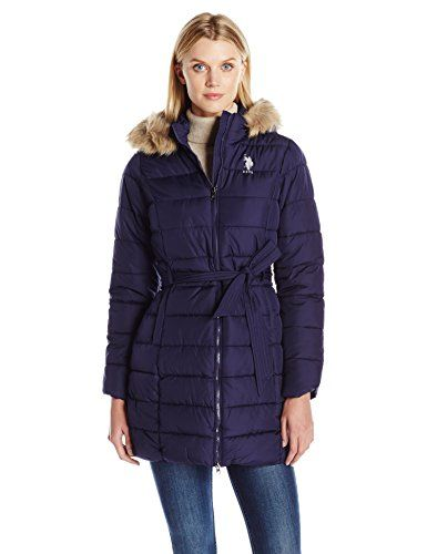 U.S. Polo Assn. Women's Puffer Coat with Self Belt and Faux Fur Trimmed Hood, Evening Blue, L ** Want to know more, click on the image. #WomensCoatsJacketsVests
