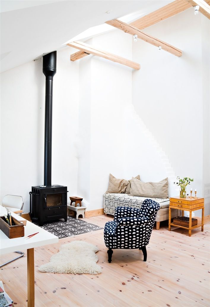 Pernilla Hed for Hus & Hem: Woods Stoves, Living Rooms, Decor Ideas, Open Spaces, Fireplaces, Black White, High Ceilings, Wood Stoves, Woods Burning Stoves