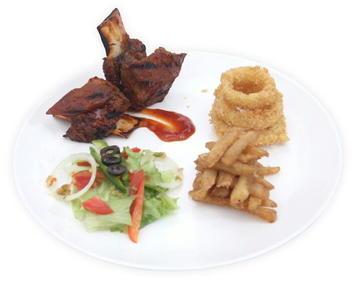 American Grilled Short Ribs; Chargrilled short rib barbeque sauce served with french fries, onion ring and mixed green vegetables.