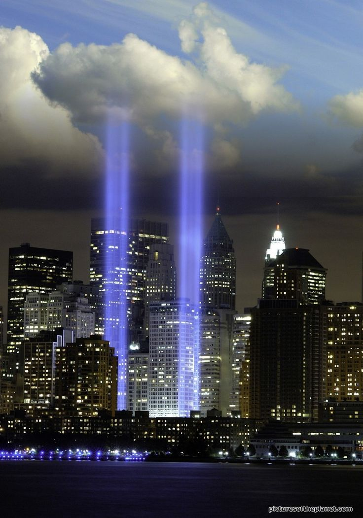 Lights of Twin Towers at Ground Zero, NY, NY -- Let us never forget!