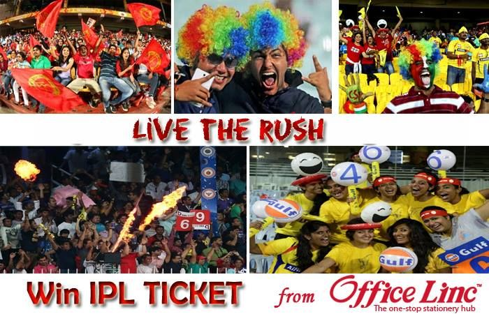 """IPL is getting heated up everyday, experience the awesomeness on ground. Win IPL Tickets and other exciting gifts, visit www.officelinc.com Shop for rupees 250 or more and use the promo code """"IPL2014"""""""