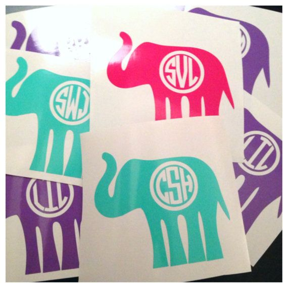 Monogrammed Elephant Decal - Personalized Sticker - Cute Custom Decal for Car Laptop Notebook @Sarah Belle