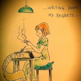 "Instagram photo by robymgr - ""Writing down my Regrets.."" #illustration#art#sketch#pen#watercolours#sugarpaper#paper#regrets#poem#drawing#draw#illustrazione#arte#disegno#acquerello#penna#carta#rimorsi#lista#list#doodle#artwork"