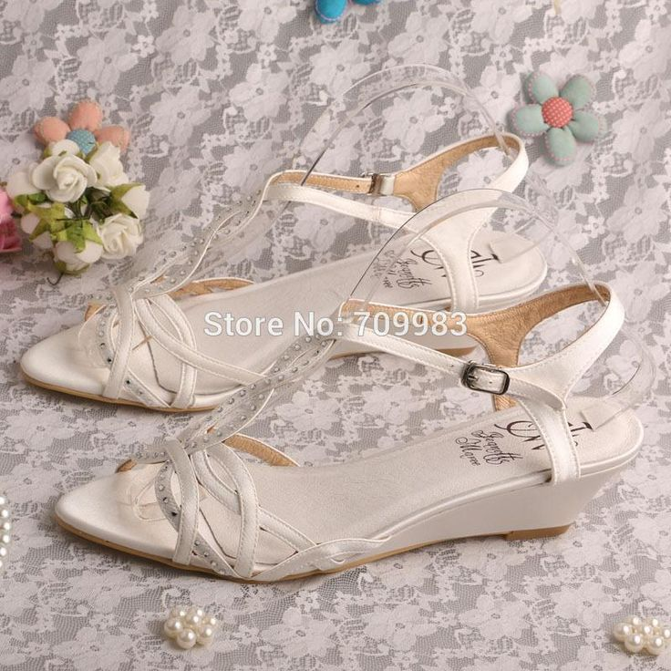 Custom Handmade Best Wedge Sandals Wedding Ivory Satin 3.5cm Heel Dropshipping Buy Shoes Online Wedge Boots From Magicbride, $42.94| Dhgate.Com