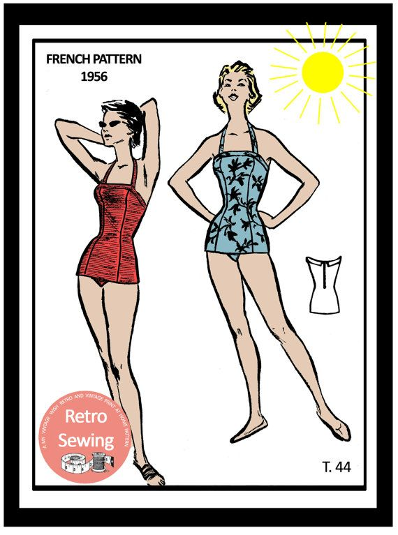 1950's Bombshell Swimsuit French Sewing Pattern - PDF Sewing Pattern - Pin Up - Rockabilly - Instant Download