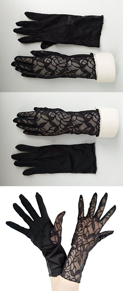 Woman's Wedding Bridal Gloves Lace Party Gloves Summer Driving UV Protection Gloves (Black)
