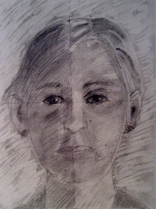 Jenny's self-portrait on the fifth day of my course, Step by Step Drawing.