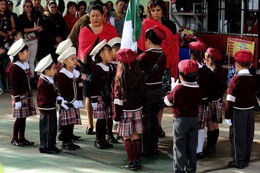 Flagge Mexiko, Kinder, Schule