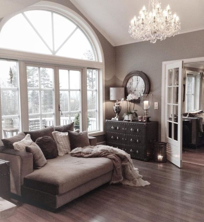 Contemporary Living Room with Glass panel door, Crown molding, High ceiling, Flint Maple 5 Inch Flooring, Chandelier