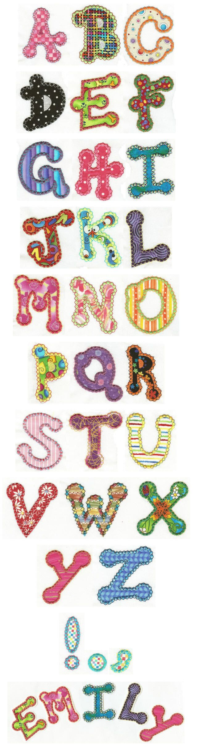 free applique alphabet patterns | Embroidery | Free machine embroidery designs | Dotty Applique Alphabet- nO LONGER FREE