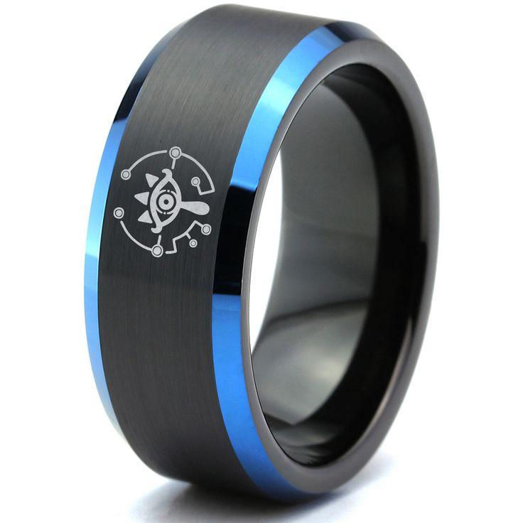 Zelda Breath of the Wild Eye Blue Beveled Black Tungsten Ring