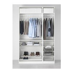 "PAX Wardrobe, white, Fardal high-gloss/white - soft closing hinge - 59x23 5/8x93 1/8 "" - IKEA"