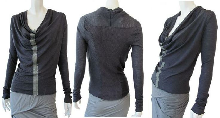 Long sleeve shawl neck t-shirt, very draped front with vertical contrasting band, raw-cutted edges, ribbed insert on back. Soft touch hand and extremely sophisticated with the draped neckline on sale. #Women #Clothing #T-Shirt