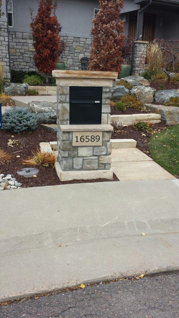 Large Mailbox with staggered stone post