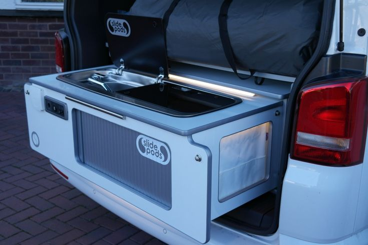 The Ultra VW Campervan pod is an innovative kitchen unit by Slidepods for the VW Caravelle, VW Beach and VW T5 camper conversions.