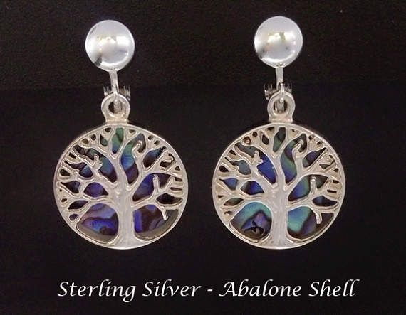 Clip On Earrings: Gorgeous 925 Sterling Silver Clip On Earrings with Abalone Shell and 925 Silver Tree of Life, Gifts for Women, Mother's Day Gift idea from www.mothersdayaustralia.net.au and https://www.etsy.com/shop/EarringsArtisan #cliponearrings #earrings #silverearrings #clipon #giftsforwomen #mothersday #mothersdaygiftideas #jewelry #jewellery