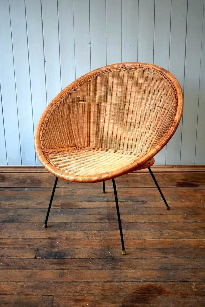 Mid Century Wicker Chair Circle