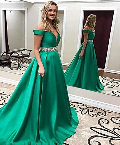 a64a149f206 Homdor Beaded Off Shoulder Prom Dress A-Line Satin Evening Formal Gown for  Women
