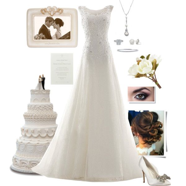Wedding by gone-girl on Polyvore featuring Menbur, BERRICLE, Allurez and  Pier 1
