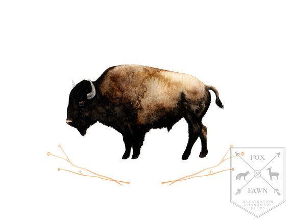 American Bison - Archival Print of Original Watercolor Illustration - Western - Southwestern -Americana -Tribal - Minimalist - Home Decor on Etsy, $20.00