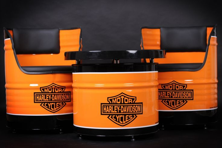 Harley Davidson oil drum furniture