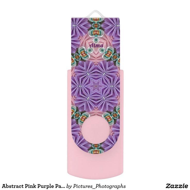 Abstract Pink Purple Pattern ~Personalised ALMA~ USB Flash Drive