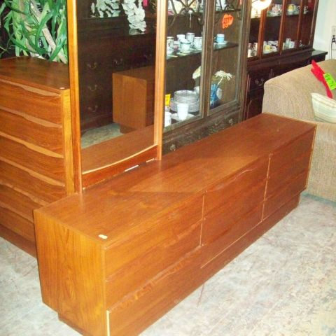 Frontier Sales Furniture & Home Decor Toronto Quality Used Furniture - Virtual Showroom;    Awesome Teak Bedroom Suite - Queen Size Platform Bed Frame, 2 Floating Night Stands, Triple Dresser with Mirror, and Tallboy Dresser, $1499.99 for the suite