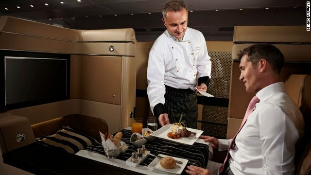 A number of airlines are taking the in-flight meal to new heights by bringing chefs on board to serve up a fine dining experience in the sky -- scooping up culinary awards in the process #airplanefood