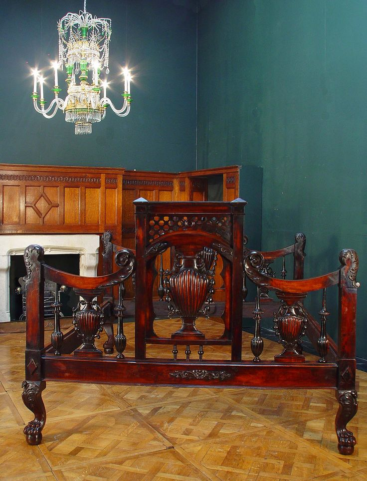 Antique Portuguese Mahogany Emperor Bed Frame