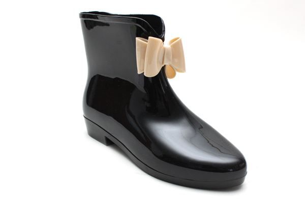 AUDRA Bow Ankle Boot Wellies BLACK/NUDE