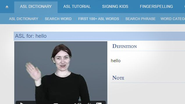 Sign language can be complex to learn because movements are difficult to convey without watching someone do them. This video dictionary helps you learn new words in sign language with actual humans demonstrating the movements.