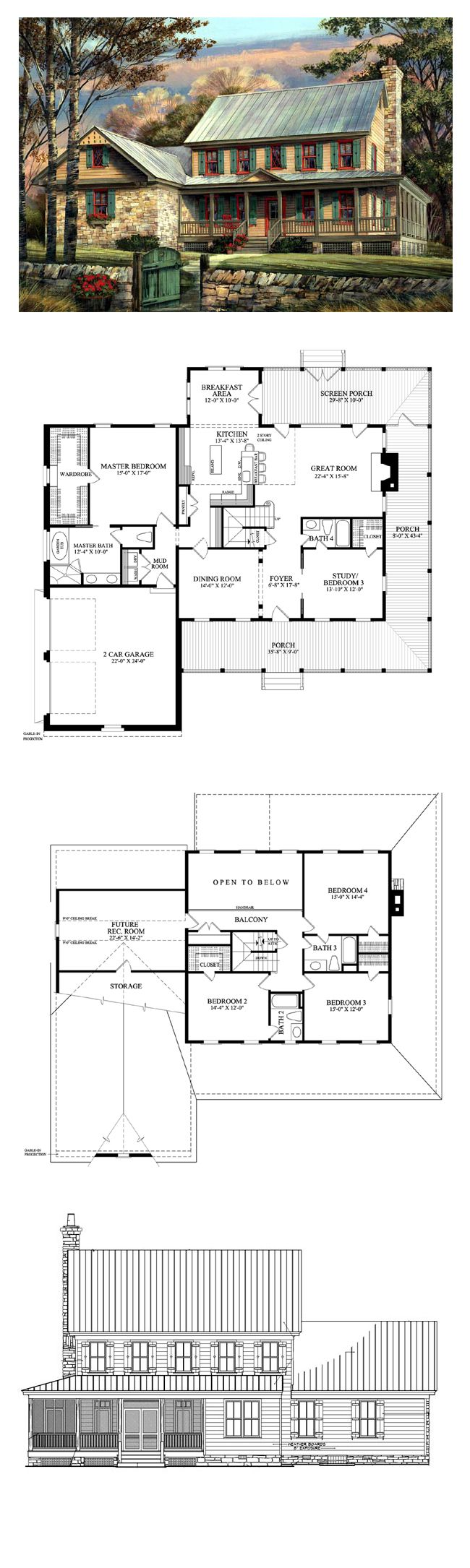 Colonial House Plan chp 47758 1253 best Fantastical