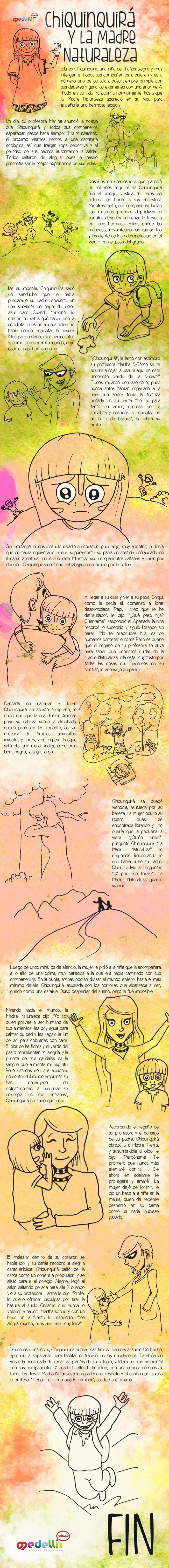 Cuento: Chiquinquirá y la Madre Naturaleza, realizado para la sección Niños y niñas del antiguo Portal Educativo de Medellín. En la actualidad la versión de dicho portal se encuentra desactivada. Autor: Carlos Julio Álvarez. Ilustración: David Jiménez.