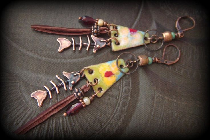 Artisan Copper Enamel, Primitive, Organic, Tribal, /rustic, Fish, Charms,Long Beaded Earrings by YuccaBloom on Etsy