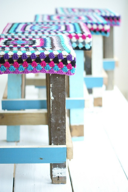 crocheted stool recycled wood