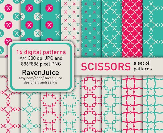 Pink and turquoise scissors pattern set printable by RavenJuice