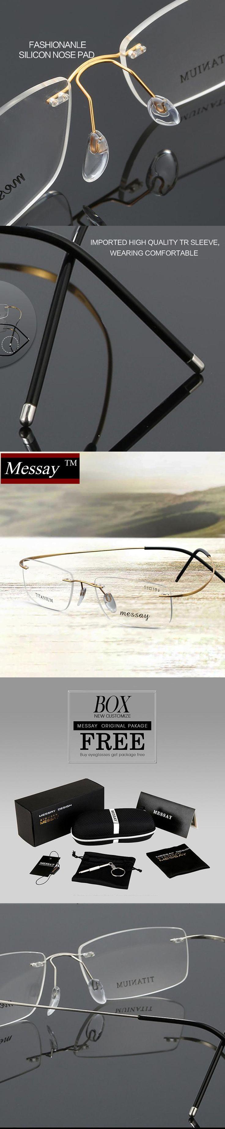 MESSAY  Brand  Glasses Rimless Titanium Eyeglasses Frame  Optical Eyewear Frames for Men Eyewear Frame suit Prescription Lens