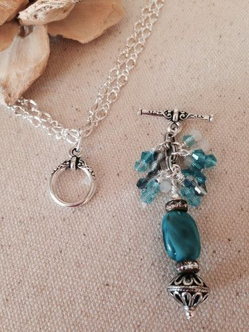 Toggle Closure Interchangeable Charm Necklace - Turquoise Glass Beaded Dangle Necklace #Findings