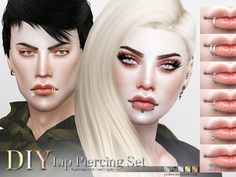 Sims 4 CC's - The Best: Lip Piercing Set by Pralinesims