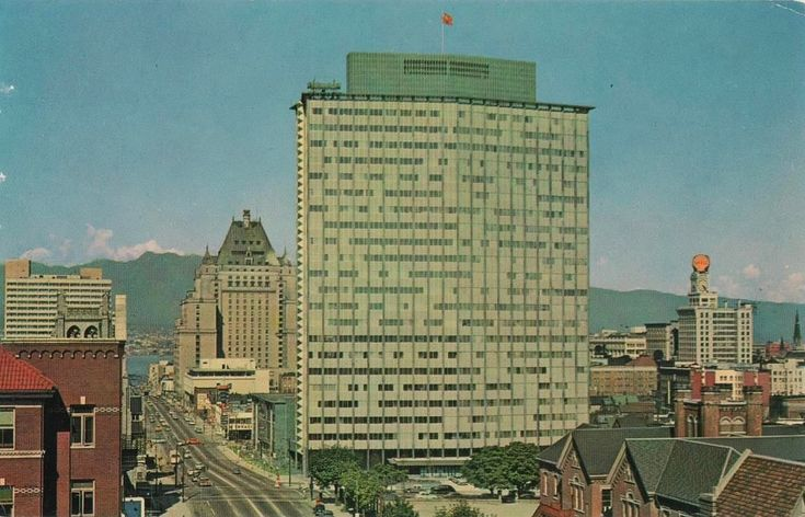 """""""Vancouver, B. C., Canada - Burrard Street, B.C. Electric Building in foreground."""" Color photograph and published by The Coast Publishing Co., Vancouver, Canada.  Vancouver, BC looking north from the south wing of St. Paul's Hospital on Burrard Street with the new BC Electric Building as central subject, c.1957."""