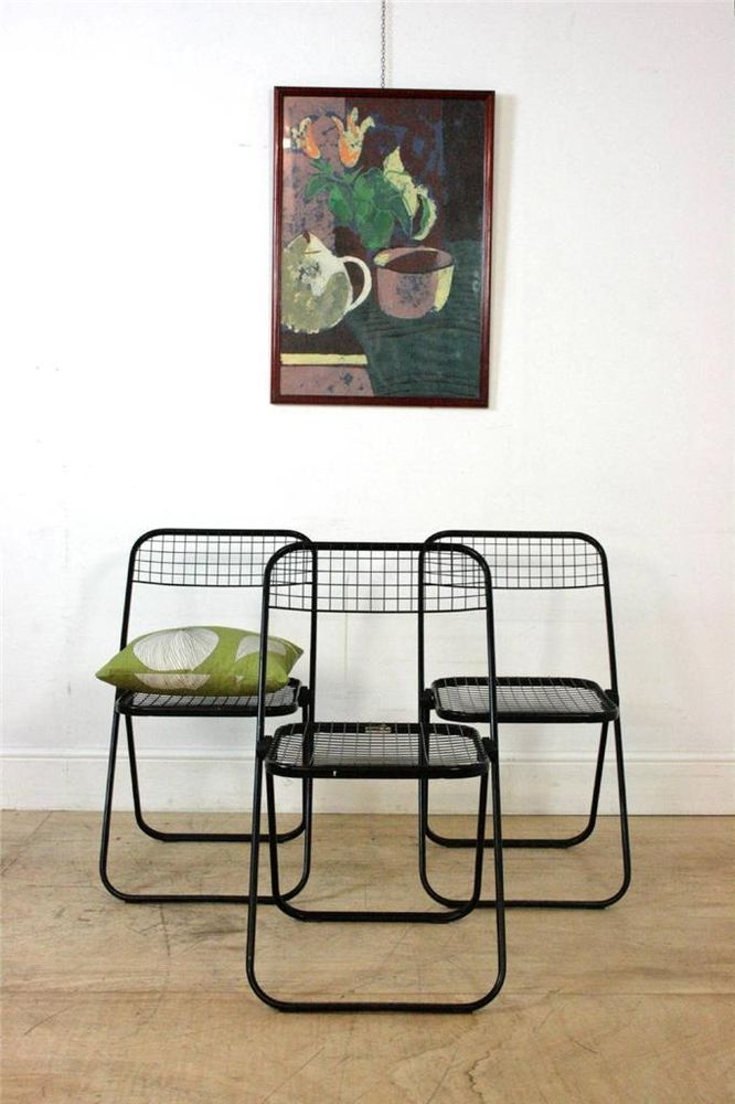 Awesome Set Of 3 Black Vintage Folding Dining Chairs By Talin Made In Italy