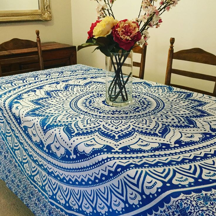 Ocean Blue Mandala Tapestry / Tablecloth | The Hues of India