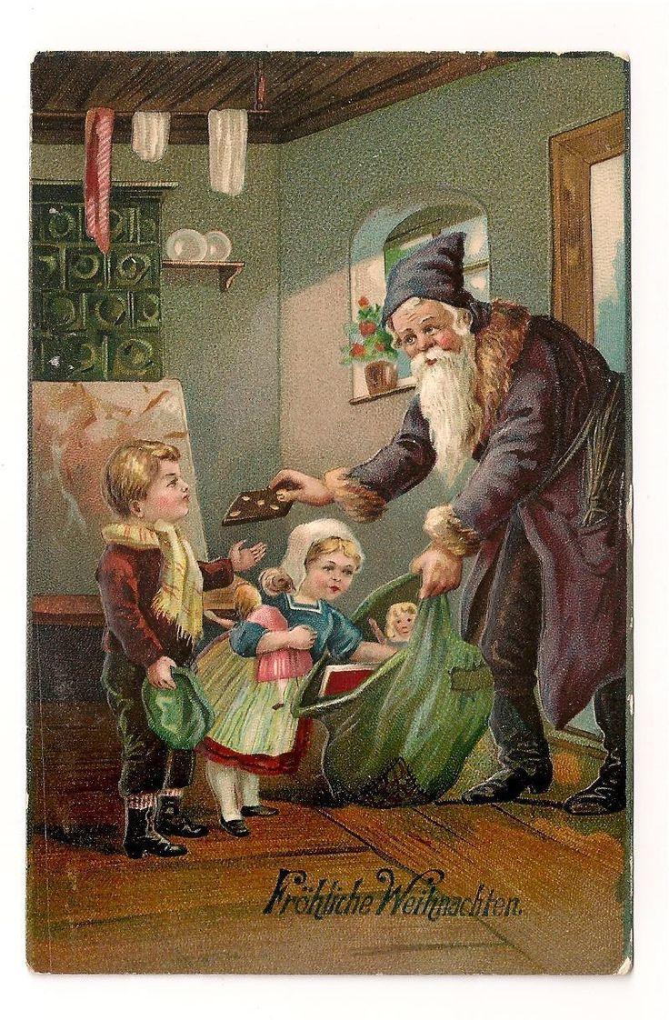 Santa father christmas postcard santa brings gifts and gingerbread to kids