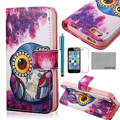 COCO FUN® Purple Cute Owl Pattern PU Leather Full Body Case with Film, Stand and Stylus for iPhone 5/5S – EUR € 7.35