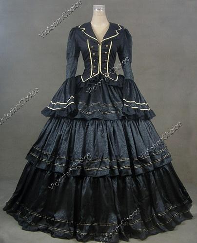 Civil War Victorian Brocade and Cotton Ball Gown Dress Prom 188 M