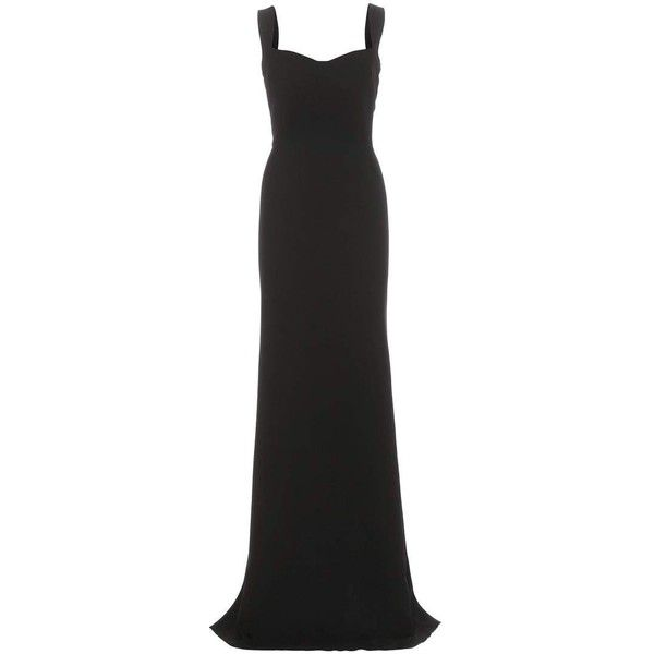 Victoria Beckham Curve Cami Crêpe Dress ($5,875) ❤ liked on Polyvore featuring dresses, gowns, long dress, black, cocktail/gowns, evening ball gowns, long cocktail dresses, cami dress, cocktail dresses and victoria beckham gown