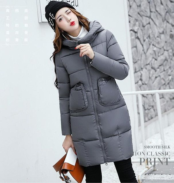 New women's parkas black outerwear 2017 winter coat women parka long thick slim ladies jackets and coats red